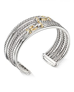 David Yurman - Sterling Silver Buckle Crossover Cuff with 18K Yellow Gold
