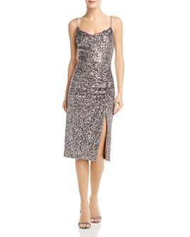 AQUA - Sequined Ruched Dress - 100% Exclusive