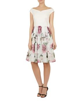 bfca9e665e4d7 Ted Baker - Licious Magnificent-Print Off-the-Shoulder Dress ...