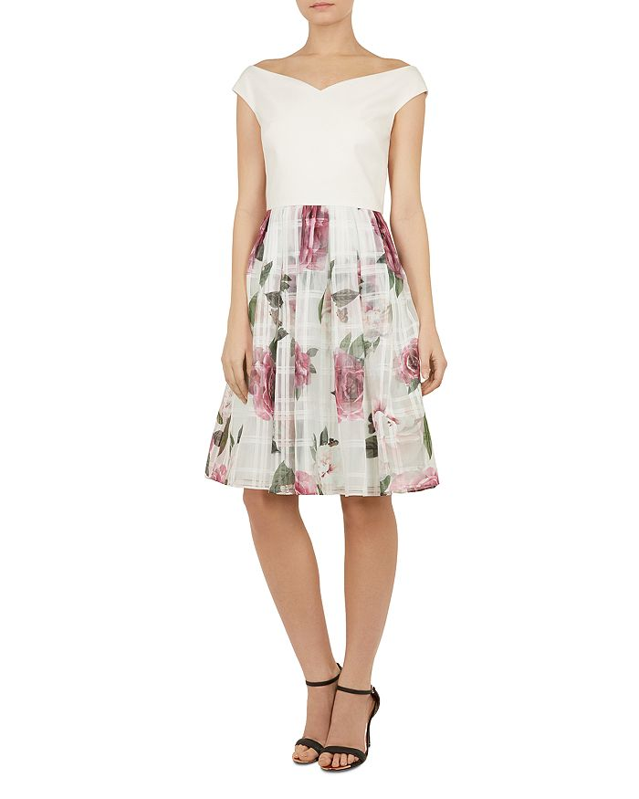 Ted Baker - Licious Magnificent-Print Off-the-Shoulder Dress