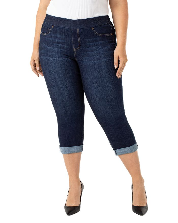 Liverpool Los Angeles Plus - Cropped Skinny Jeans in Griffith Super Dark