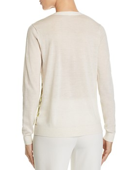 Tory Burch - Silk-Front V-Neck Cardigan sweater