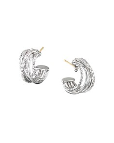 David Yurman - Sterling Silver Crossover Huggie Hoop Earrings with Diamonds