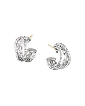 David Yurman - Sterling Silver Crossover Huggie Hoop Earrings with Diamonds