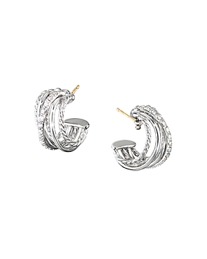 David Yurman Accessories STERLING SILVER CROSSOVER HUGGIE HOOP EARRINGS WITH DIAMONDS