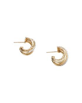 David Yurman - Crossover Huggie Hoop Earrings in 18K Yellow Gold with Diamonds