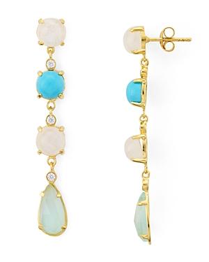 Argento Vivo Multi Stone Linear Drop Earrings in 14K Gold-Plated Sterling Silver