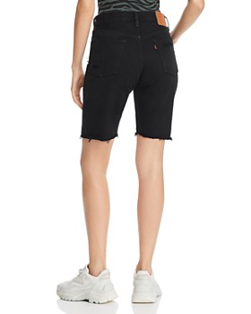 Levi's - 501 High Rise Slouch Denim Shorts in Black Mark