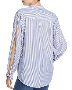 7 For All Mankind - Split-Sleeve Tie-Front Shirt