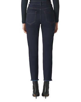 Whistles - Slim Frayed-Hem Jeans in Dark Denim