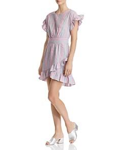 AQUA - Tie-Waist Ruffled Striped Dress - 100% Exclusive