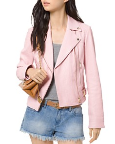 MICHAEL Michael Kors - Crinkled-Texture Leather Moto Jacket