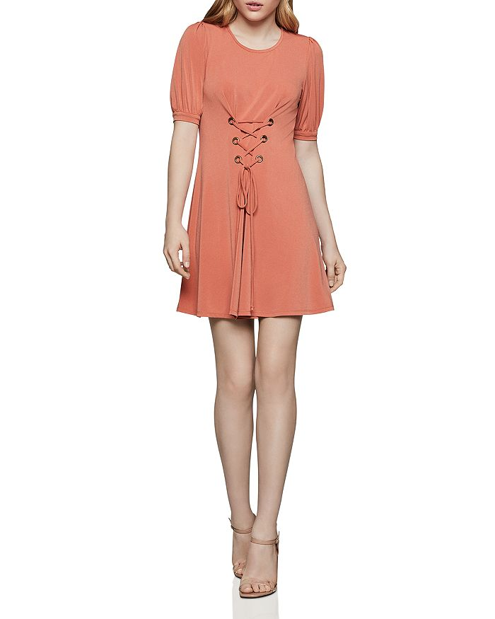 BCBGENERATION - Puff-Sleeve Lace-Up Dress