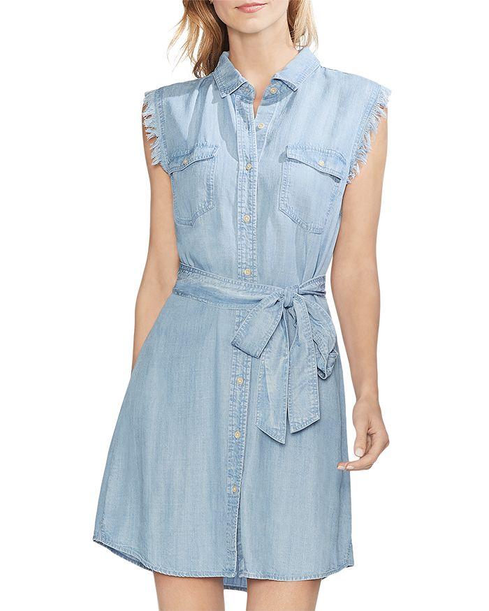 VINCE CAMUTO - Sleeveless Chambray Shirt Dress