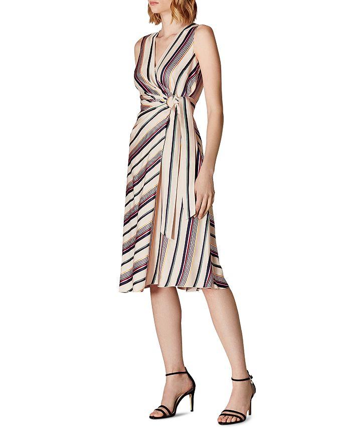 KAREN MILLEN - Striped Satin Faux-Wrap Dress - 100% Exclusive