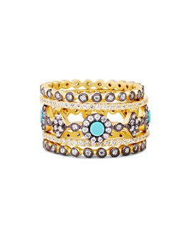 Freida Rothman - Color Turquoise Stacking Rings in 14K Gold-Plated Sterling Silver, Set of 5