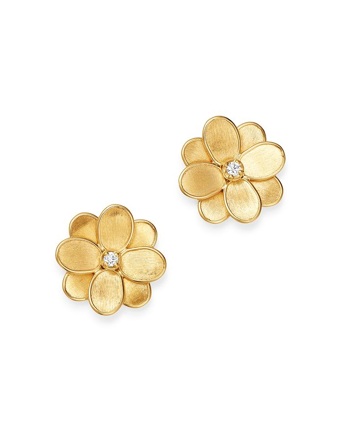 18k Yellow Gold Petali Diamond Flower Stud Earrings