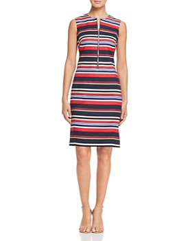 a4522f0a52b DKNY - Striped Zip-Front Sheath Dress ...