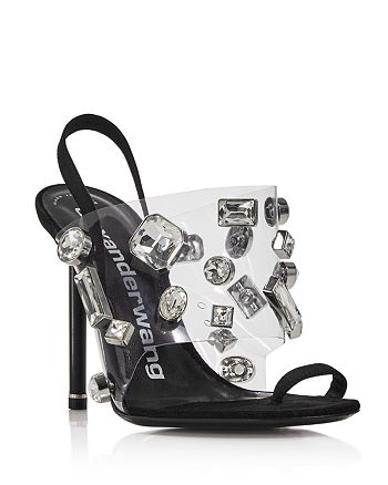 Alexander Wang - Women's Kaia Clear Crystal Stiletto Sandals