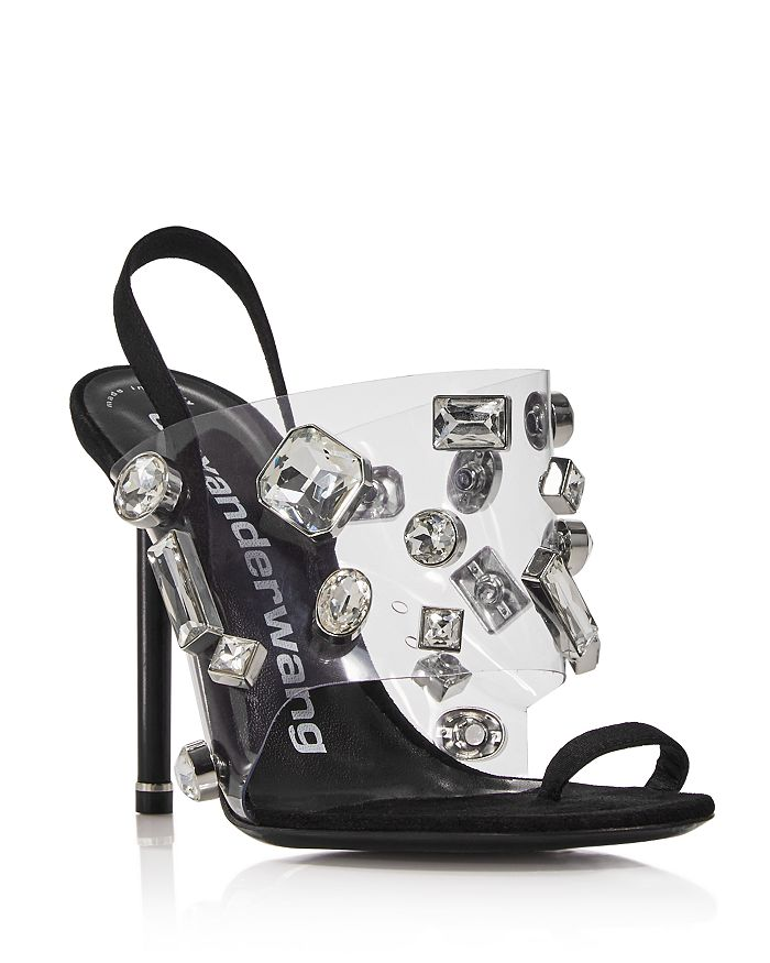 Alexander Wang - Women's Kaia Clear Crystal Stiletto Sandals