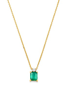 """Bloomingdale's - Emerald & Diamond Pendant Necklace in 14K Yellow Gold, 16"""" - 100% Exclusive"""
