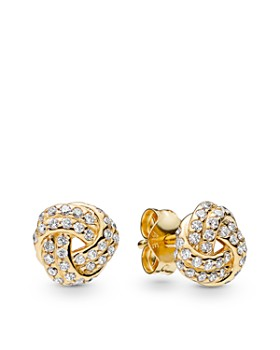 340189621 Pandora - Gold Tone-Plated Sterling Silver & Cublc Zirconia Shine Love Knot  Earrings