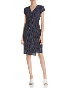 T Tahari - Dot-Print Faux-Wrap Dress