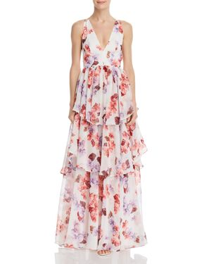 FAME AND PARTNERS | Fame & Partners Tiered Floral Gown | Goxip