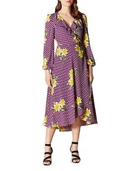 KAREN MILLEN - Geometric Floral Wrap Dress