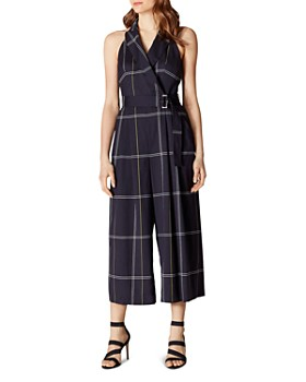 KAREN MILLEN - Plaid Wide-Leg Jumpsuit