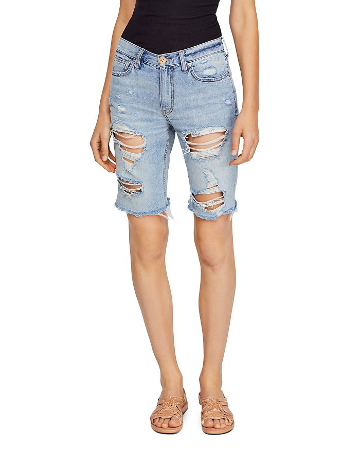 Free People - Caroline Distressed Denim Bermuda Shorts in Indigo Blue
