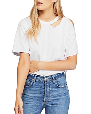 Free People Tops LUCKY DISTRESSED CUTOUT TEE