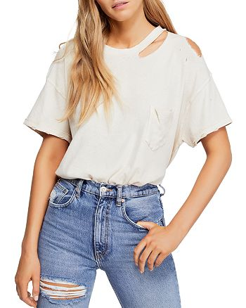 Free People - Lucky Distressed Cutout Tee