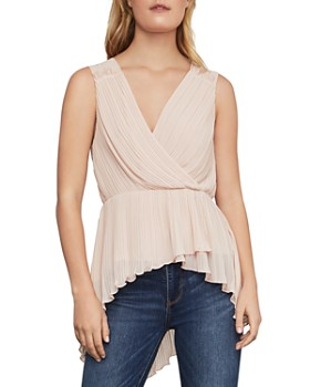 82dda2d65ccd BCBGMAXAZRIA - Pleated Asymmetric Peplum Top ...