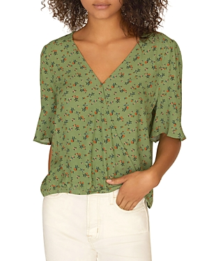 Sanctuary Tops GARDEN PARTY FLORAL WRAP-FRONT TOP