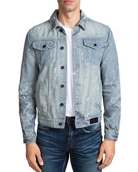 PRPS - Hickory Paint-Splattered Stripe-Patterned Denim Jacket