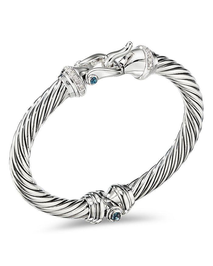 David Yurman - Sterling Silver Cable Buckle Bracelet with Hampton Blue Topaz & Diamonds