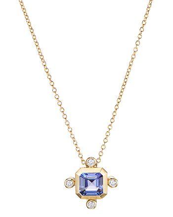"""David Yurman - 18K Yellow Gold Novella Pendant Necklace with Tanzanite & Diamonds, 18"""""""
