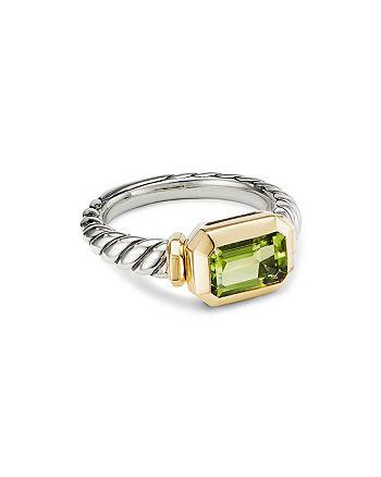 David Yurman - Sterling Silver Novella Ring with Peridot & 18K Yellow Gold