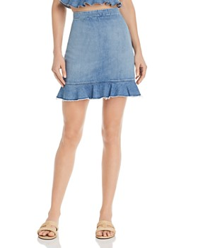 Show Me Your MuMu - Kai Denim Flounce-Hem Skirt in Stream