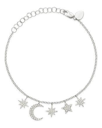Meira T - 14K White Gold Diamond Moon & Celestial Charms Bracelet