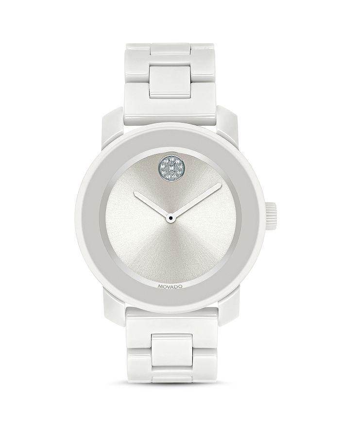 Movado Bold Ceramic Watch, 36Mm In White/White