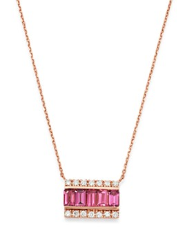 "Bloomingdale's - Pink Tourmaline & Diamond Bar Necklace in 14K Rose Gold, 16"" - 100% Exclusive"