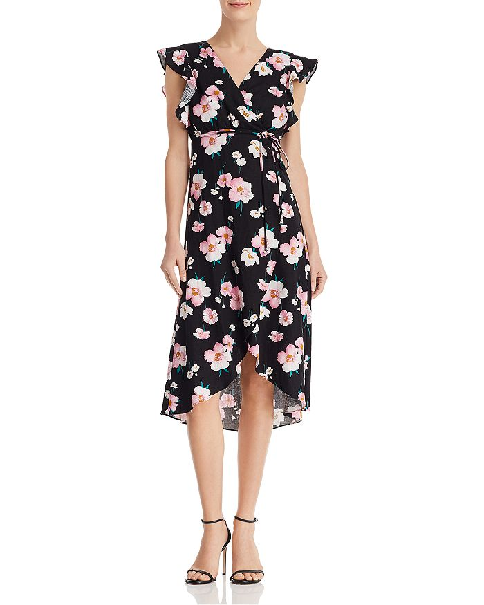 AQUA - Floral Wrap Dress - 100% Exclusive