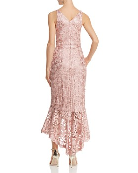 Avery G - Shimmery Floral-Embroidered Lace Dress