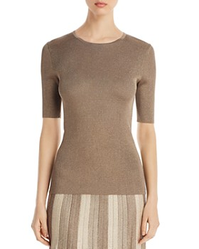St. John - Metallic Ribbed-Knit Top