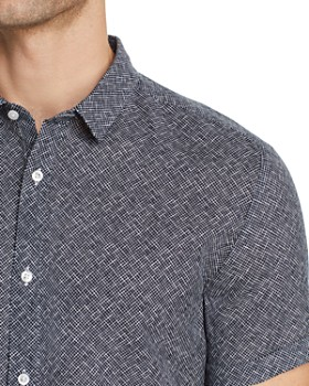 HUGO - Empson Short-Sleeve Crosshatch-Print Extra-Slim Fit Shirt