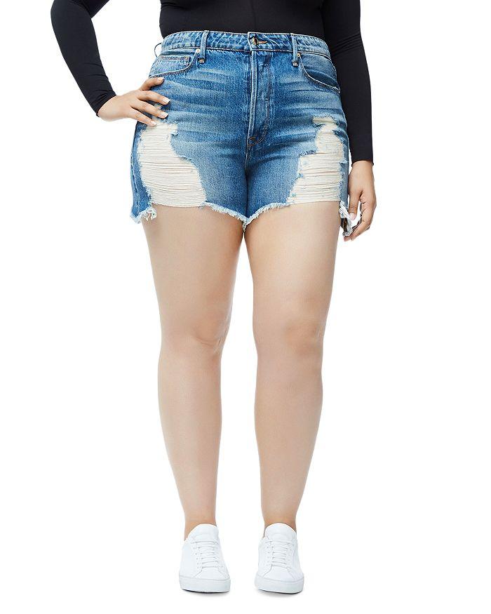 Good American - Bombshell Curved-Hem Denim Shorts in Blue 153