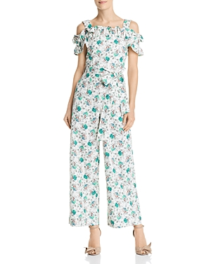Rebecca Taylor Suits RUFFLED OFF-THE-SHOULDER CARNATION-PRINT JUMPSUIT