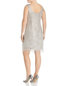 Adrianna Papell Plus - Beaded Fringe-Hem Dress